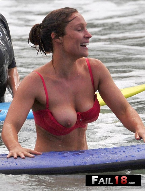 That water looks rather nippy! Home and Away star Lisa suffers s