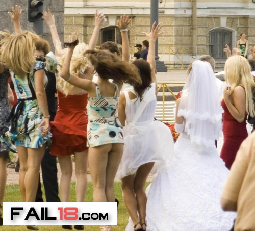 Wedding party getting carried away?? She doesn?t need a bouq